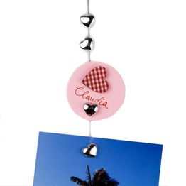 Photo rope 'Sweetheart' 1,5 m with loop and steel weight, incl. 8 heart magnets