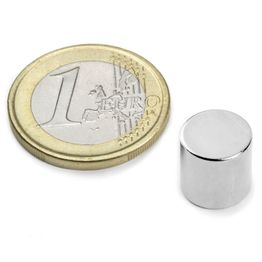 S-10-10-N Disc magnet Ø 10 mm, height 10 mm, neodymium, N45, nickel-plated