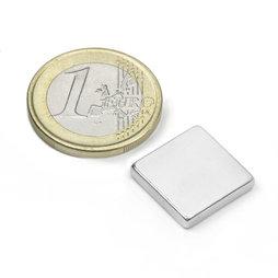 Q-15-15-03-N, Block magnet 15 x 15 x 3 mm, neodymium, N45, nickel-plated