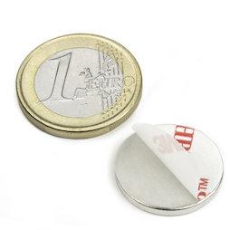 S-20-02-FOAM, Disc magnet (self-adhesive) Ø 20 mm, height 2 mm, neodymium, N35, nickel-plated