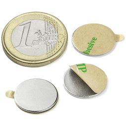 S-15-01-STIC, Disc magnet self-adhesive Ø 15 mm, height 1 mm, neodymium, N35, nickel-plated
