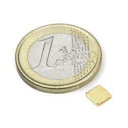 Q-CDM48-G, Block magnet 5 x 5 x 1 mm, neodymium, N48, gold-plated