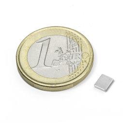 Q-05-04-01-N, Block magnet 5 x 4 x 1 mm, neodymium, N50, nickel-plated