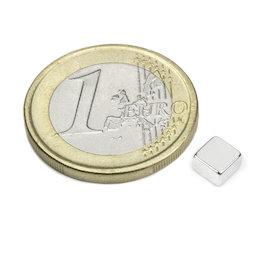 Q-05-05-03-N52N, Block magnet 5 x 5 x 3 mm, neodymium, N52, nickel-plated
