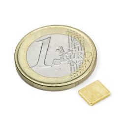 Q-07-06-1.2-G, Block magnet 7 x 6 x 1,2 mm, neodymium, N50, gold-plated