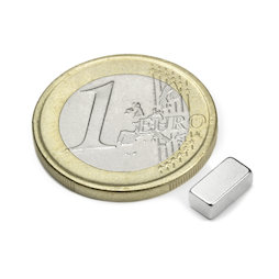 Q-08-04-03-N, Block magnet 8 x 4 x 3 mm, neodymium, N45, nickel-plated