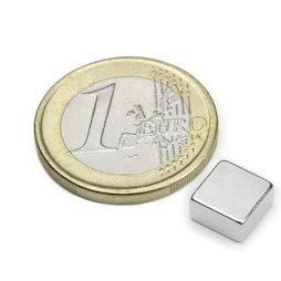Q-08-08-04-N, Block magnet 8 x 8 x 4 mm, neodymium, N45, nickel-plated