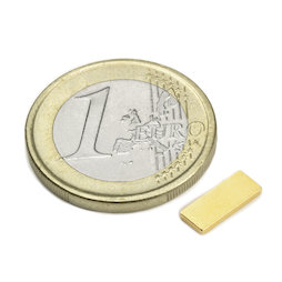 Q-10-04-1.2-G, Block magnet 10 x 4 x 1,2 mm, neodymium, N50, gold-plated