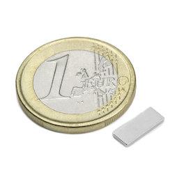 Q-10-04-1.2-N, Block magnet 10 x 4 x 1,2 mm, neodymium, N50, nickel-plated