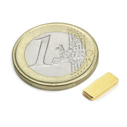 Q-10-04-1.5-G, Block magnet 10 x 4 x 1,5 mm, neodymium, N50, gold-plated