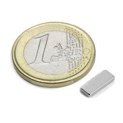 Q-10-04-1.5-N, Block magnet 10 x 4 x 1,5 mm, neodymium, N50, nickel-plated