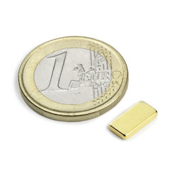 Q-10-05-1.5-G, Block magnet 10 x 5 x 1,5 mm, neodymium, N50, gold-plated