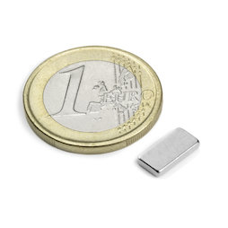 Q-10-05-1.5-N, Block magnet 10 x 5 x 1,5 mm, neodymium, N50, nickel-plated