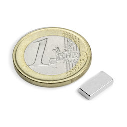 Q-10-05-02-N, Block magnet 10 x 5 x 2 mm, neodymium, N50, nickel-plated