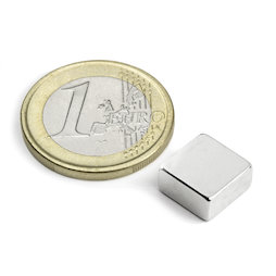 Q-10-10-05-N, Block magnet 10 x 10 x 5 mm, neodymium, N42, nickel-plated