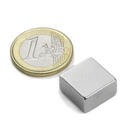 Q-15-15-08-N, Block magnet 15 x 15 x 8 mm, neodymium, N42, nickel-plated