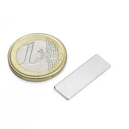 Q-25-08-01-N, Block magnet 25 x 8 x 1 mm, neodymium, N48, nickel-plated