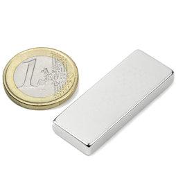 Q-40-15-05-N, Block magnet 40 x 15 x 5 mm, neodymium, N40, nickel-plated