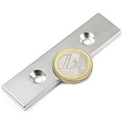 CS-Q-80-20-04-N, Block magnet 80 x 20 x 4 mm, with countersunk borehole, N35, nickel-plated