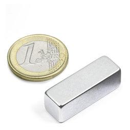 Q-30-10-10-Z, Block magnet 30 x 10 x 10 mm, neodymium, N40, zinc-plated