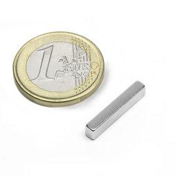 Q-20-04-03-N, Block magnet 20 x 4 x 3 mm, neodymium, N48, nickel-plated